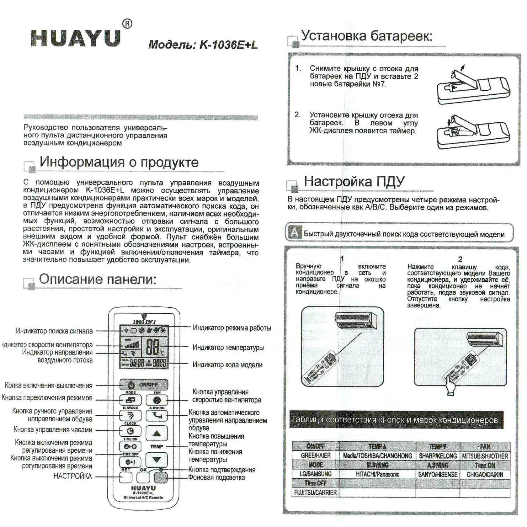 черный пульт от кондиционера lg инструкция по применению